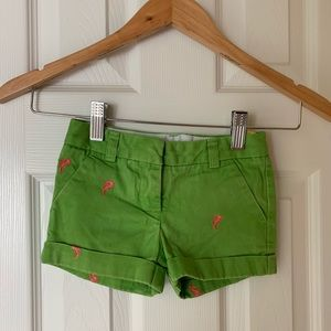 Crewcuts Girls' Green Shorts with Seahorses 3T
